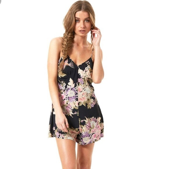 Spell & The Gypsy Collective Pants - Spell Blue Skies Black Floral Romper Playsuit Slip